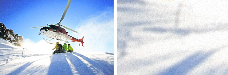 Ruby Mountains Heli-Experience's helicopter soaring over a ski run. (Joe Royer)